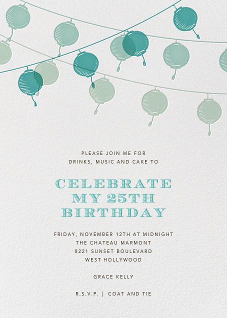 Lanterns - Teal - Paperless Post - Adult birthday
