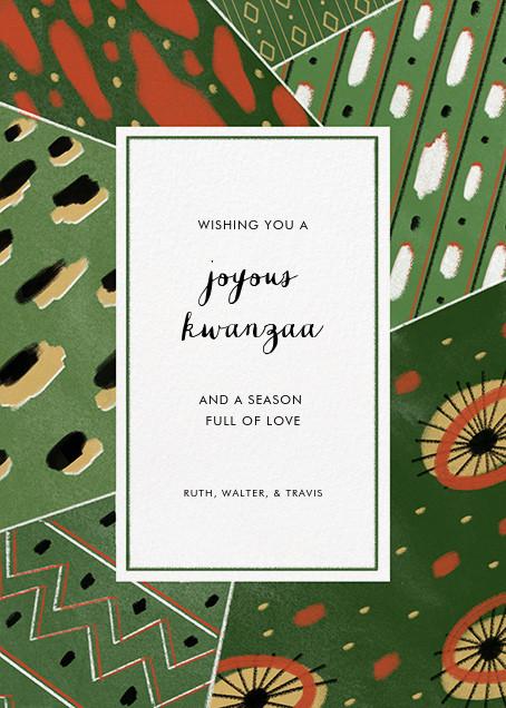 Dashiki Patchwork - Green - Paperless Post - Kwanzaa