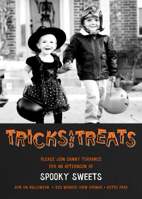 Tricks and Treats - Photo (Tall) - Paperless Post - Halloween