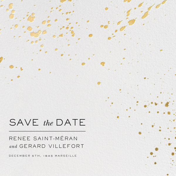Splatter Cloth II (Save the Date) - Gold - Paperless Post - Modern