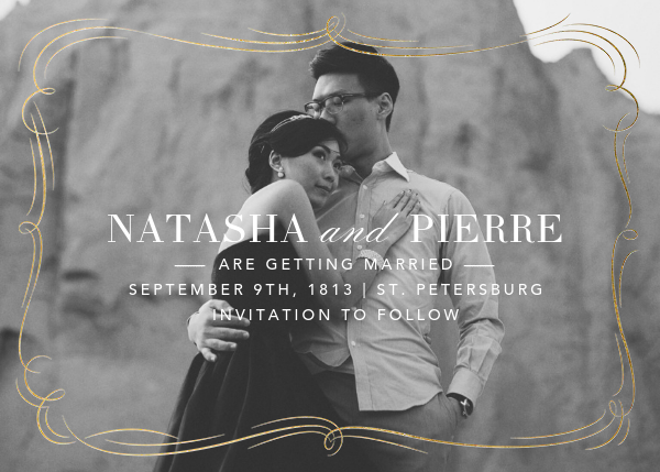 Plume (Photo Save the Date) - Gold - Paperless Post - Photo