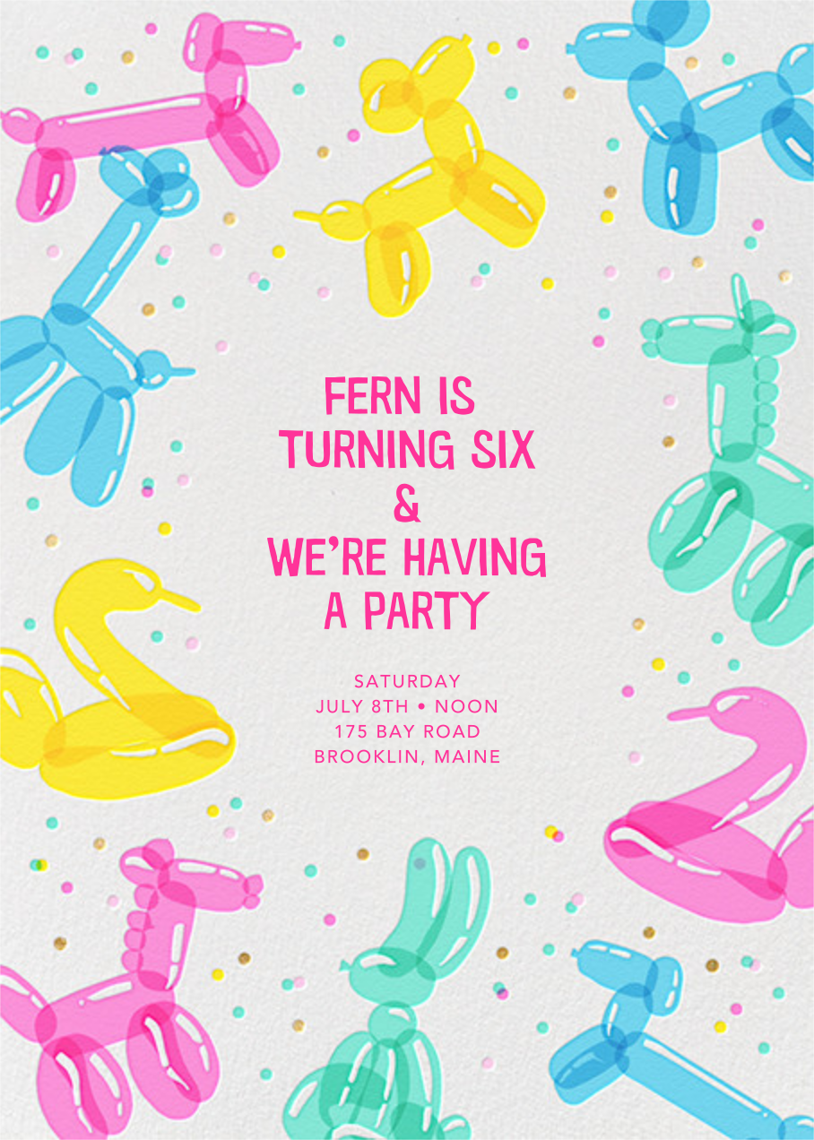 Balloon Animals (Invitation) - Hello!Lucky - Kids' birthday