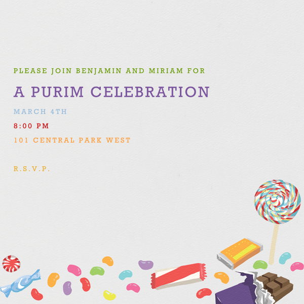 Purim Candy - Paperless Post - Purim