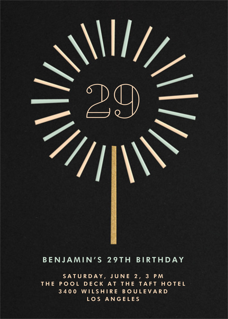 Year of the Sparkler - Black - Paperless Post - Adult birthday