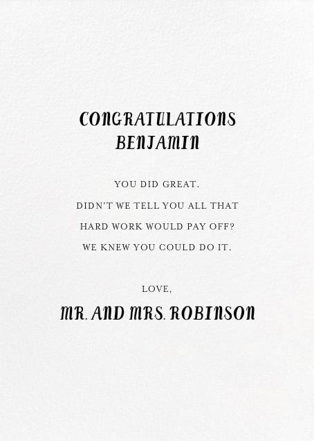 A Hole in Your Safety Net - Mr. Boddington's Studio - Graduation - card back