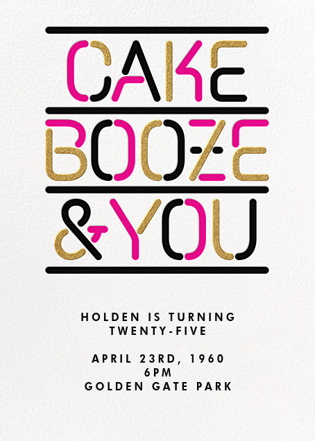 Cake Booze and You - Paperless Post - Adult birthday