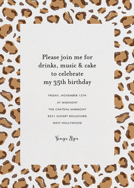 Leopard Spots - Brown  - Paperless Post - Adult birthday