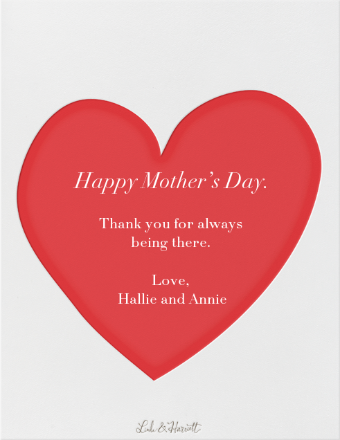 Sending Hearts - Linda and Harriett - Mother's Day - card back