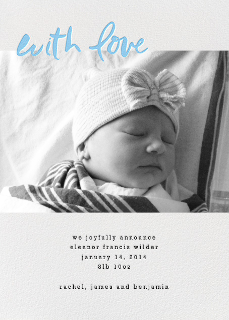 With Love From Baby (Tall) - Blue - Linda and Harriett - Baby boy announcements
