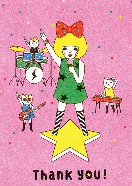 Band of Cats (Naoshi) - Red Cap Cards - Thank you