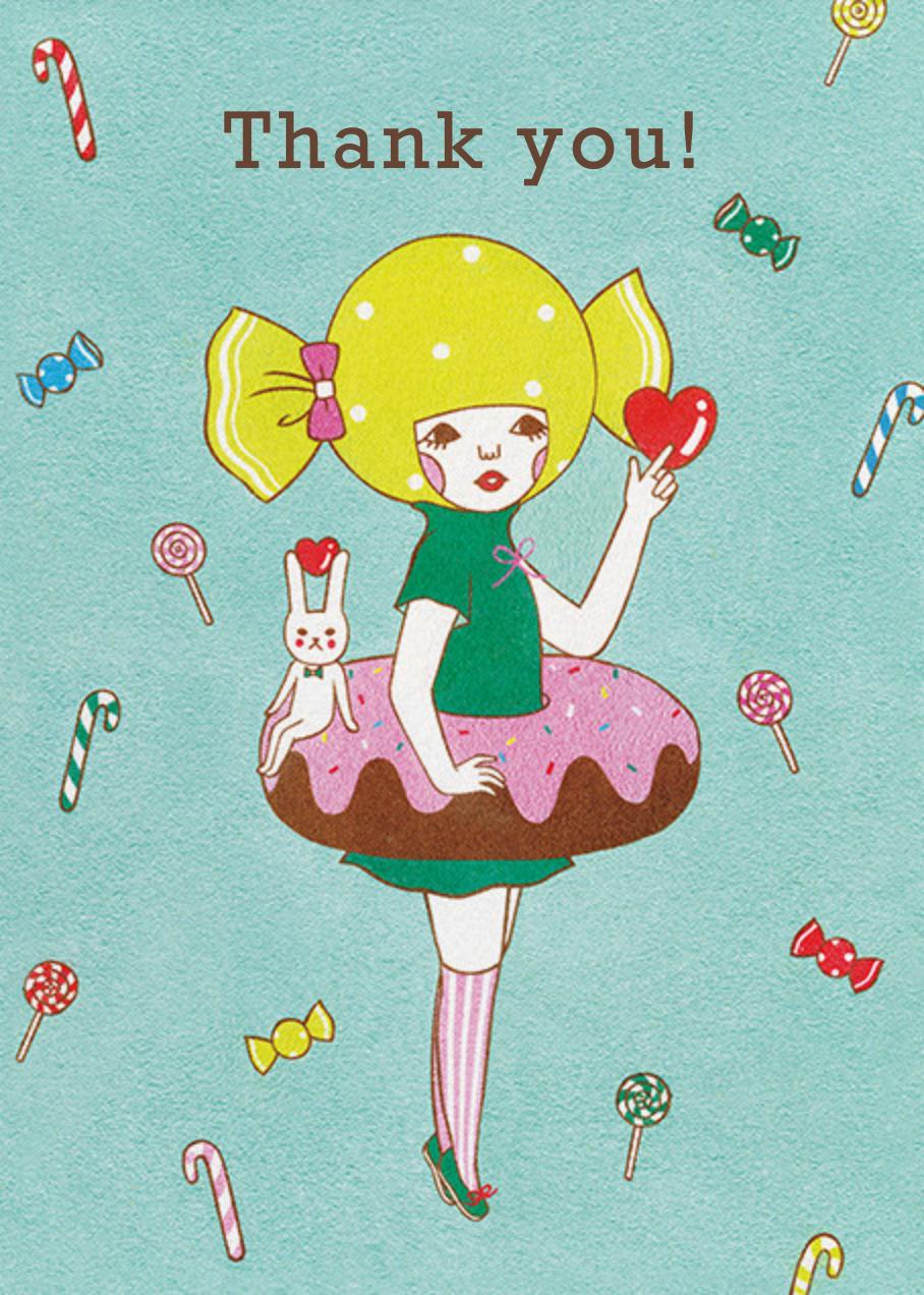 Doughnut Girl (Naoshi) - Red Cap Cards - Thank you
