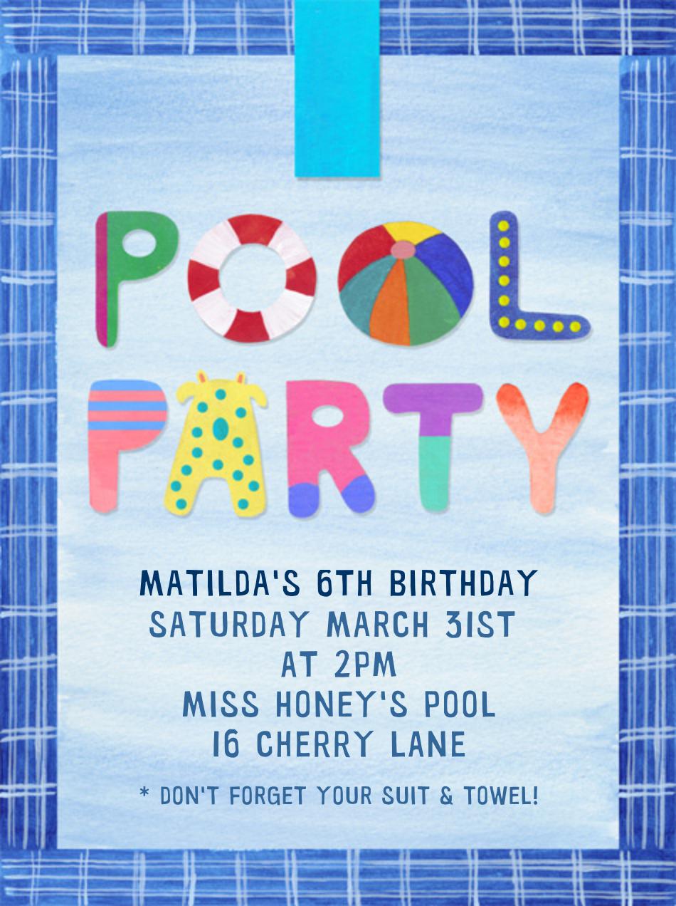 Pool Party - Paperless Post - Kids' birthday
