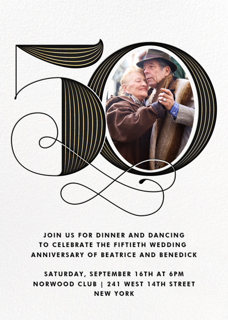 Pinstripe Numerals (Fifty) - Paperless Post - Anniversary party