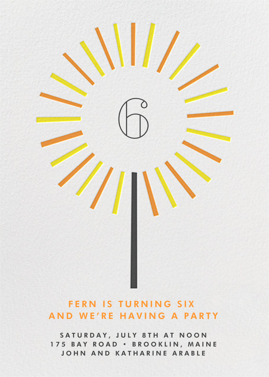 Year of the Sparkler - Orange - Paperless Post - Kids' birthday