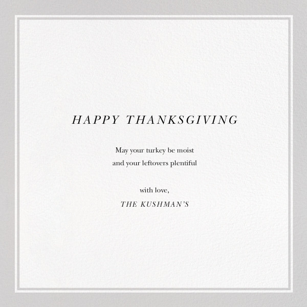 Nontraditional Thanksgiving - The New Yorker - Thanksgiving - card back