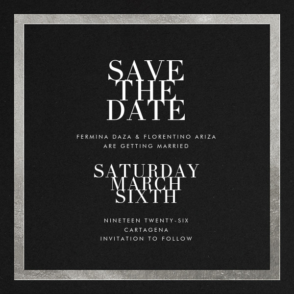 Editorial II (Save the Date) - Black/Silver - Paperless Post - Save the date