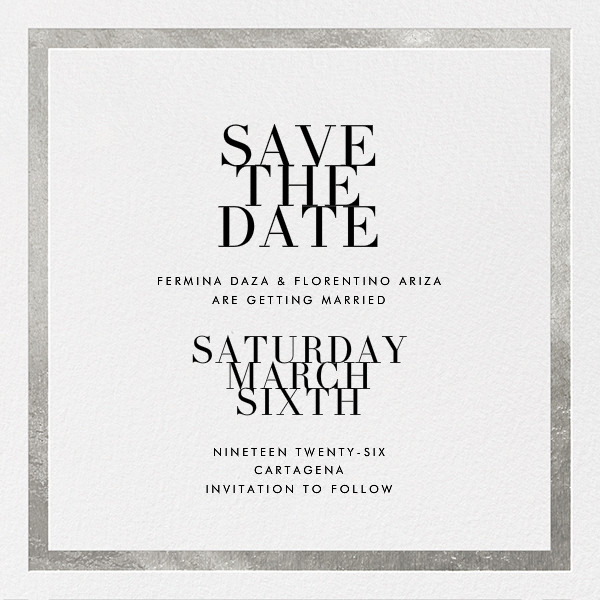 Editorial II (Save the Date) - White/Silver - Paperless Post - Save the date