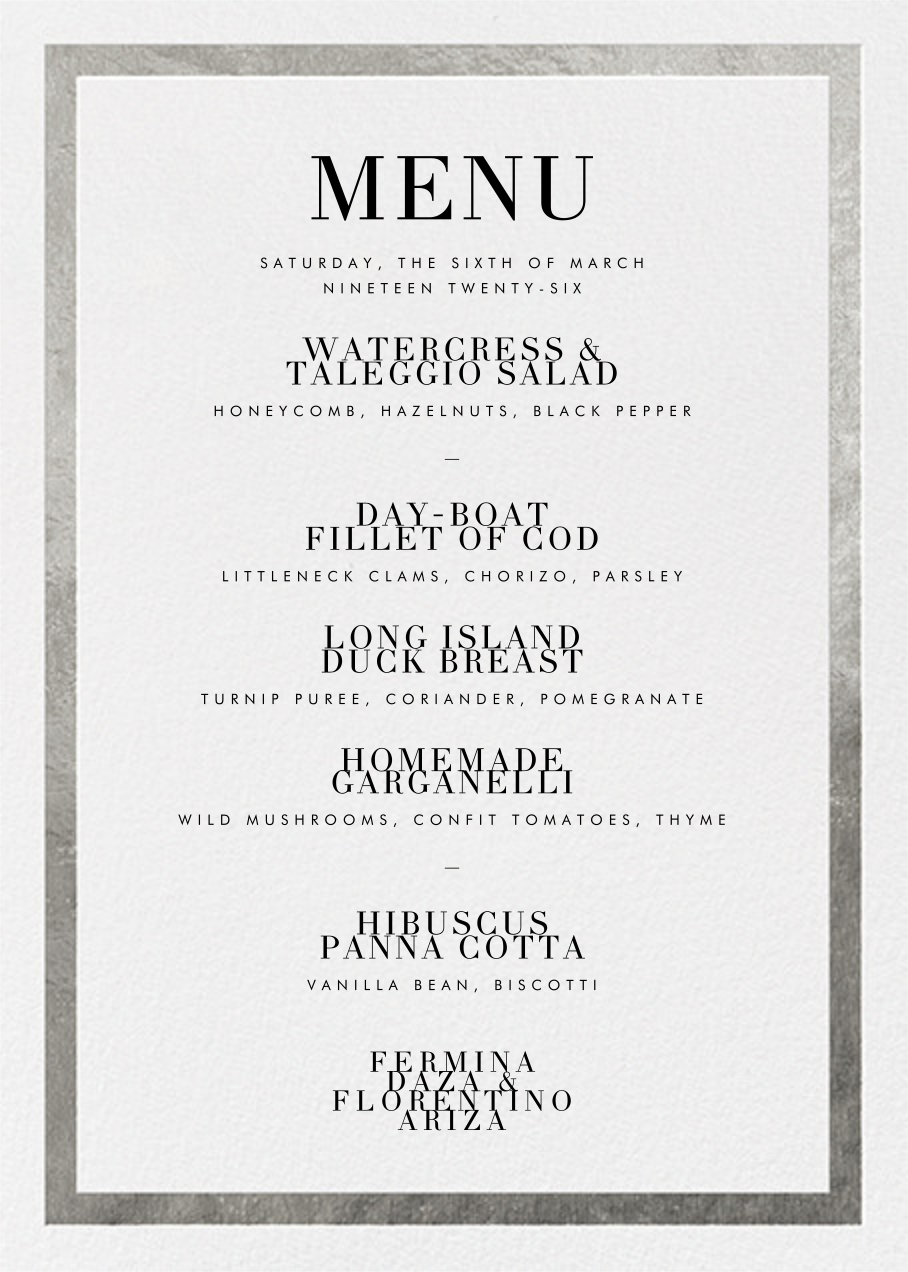 Editorial II (Menu) - White/Silver - Paperless Post - Menus