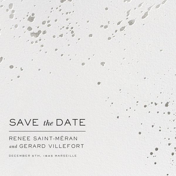 Splatter Cloth II (Save the Date) - Silver - Paperless Post - Save the date