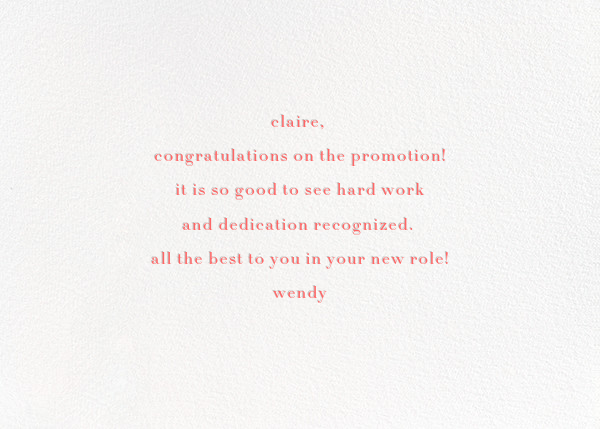 A Round of Applause - Coral/Gold - kate spade new york - Congratulations - card back