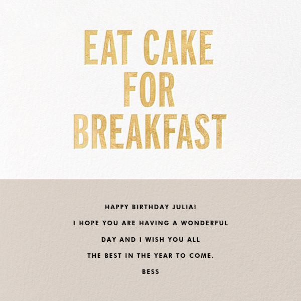 Eat Cake for Breakfast (Square) - Gold - kate spade new york - Birthday