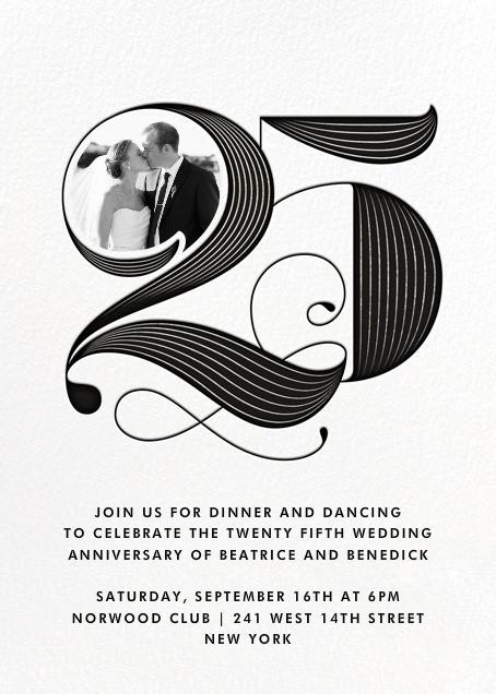 Pinstripe Numerals (Twenty-Five) - Paperless Post - Anniversary party
