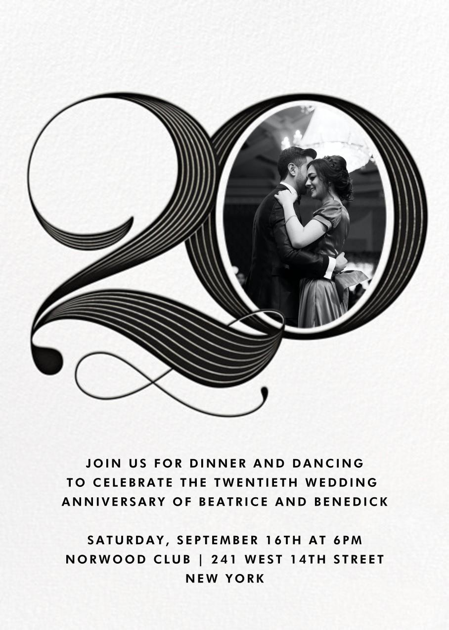 Pinstripe Numerals (Twenty) - Paperless Post - Anniversary party