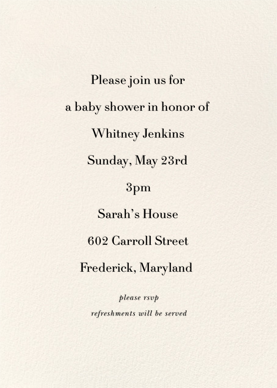 Daisy Place Shower - kate spade new york - Baby shower - card back