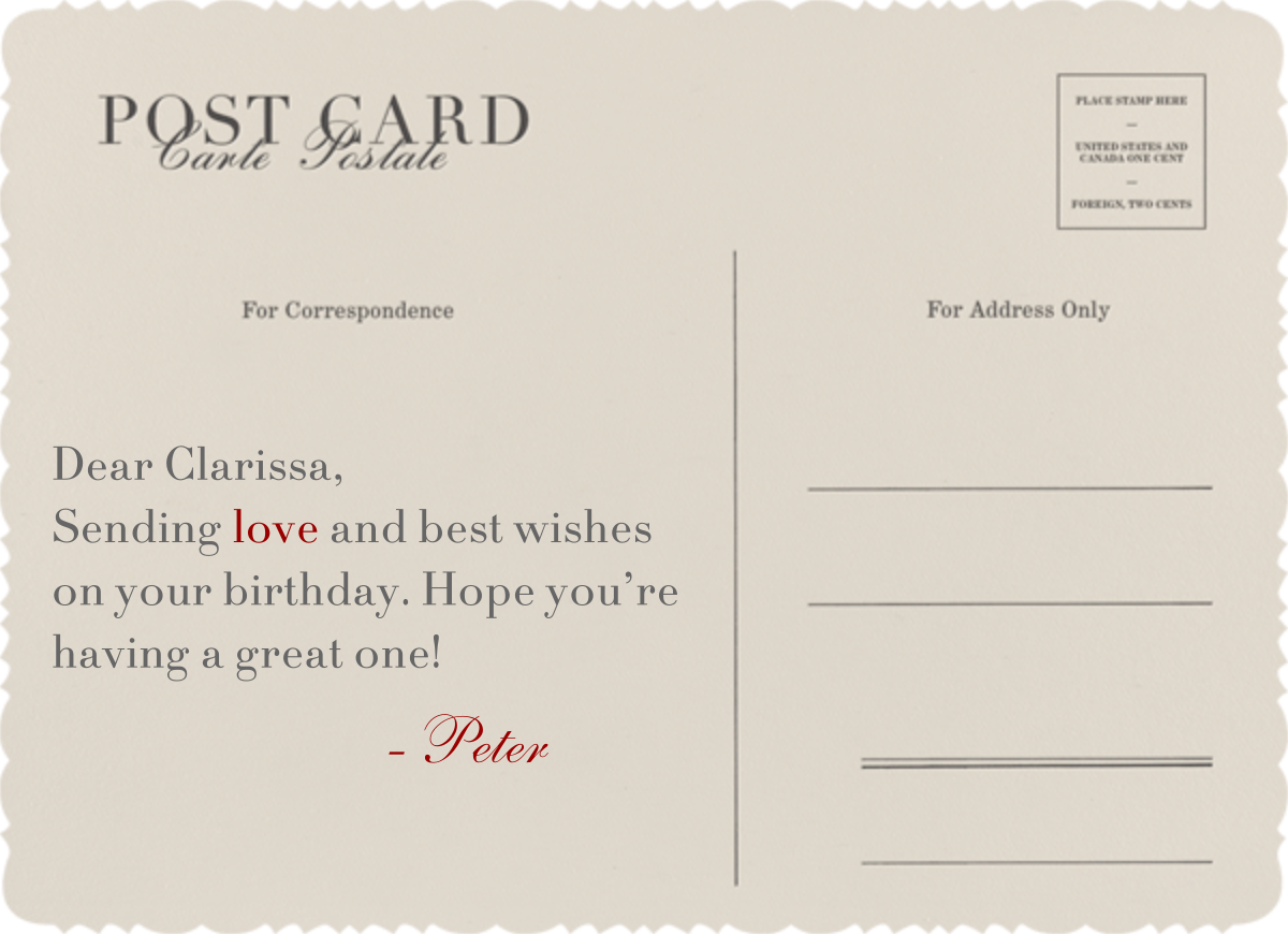 Vintage Post Card - Paperless Post - Birthday - card back