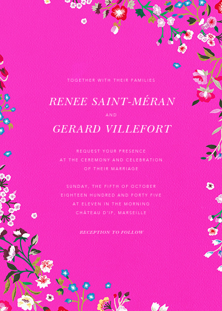 Embroidered Floral - Shocking Pink  - Oscar de la Renta