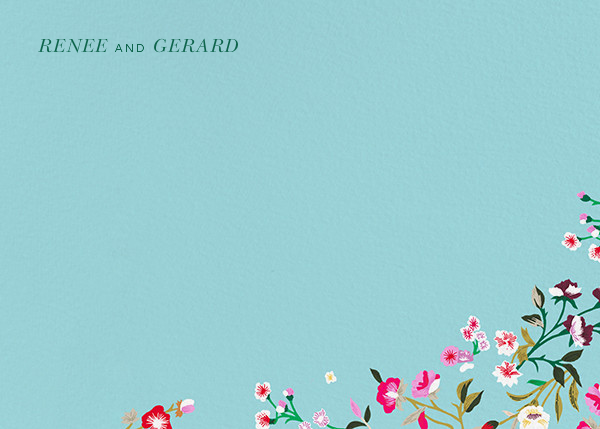 Embroidered Floral (Stationery) - Aquamarine  - Oscar de la Renta - Personalized stationery