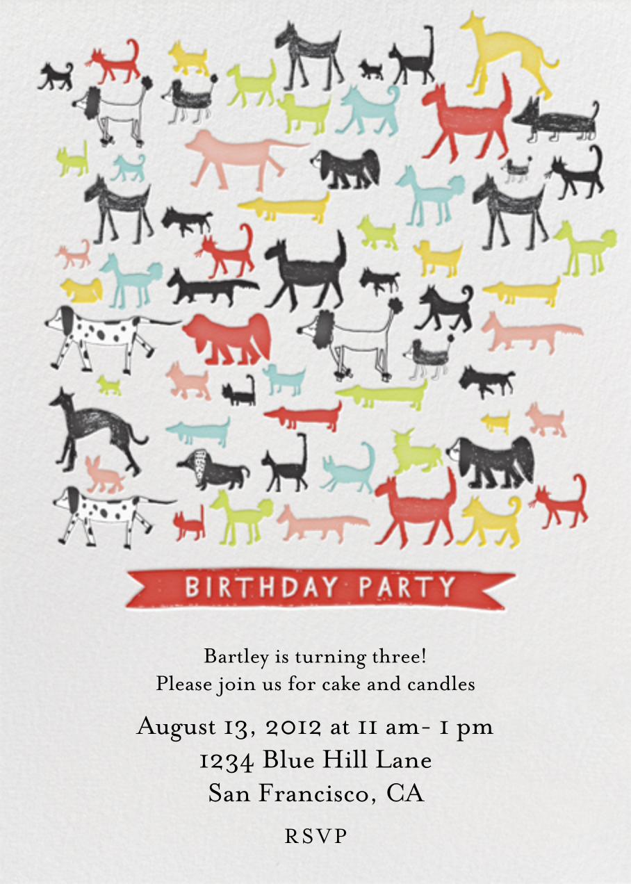 Calling all Dogs - Tomato - Mr. Boddington's Studio - Kids' Birthday Invitations