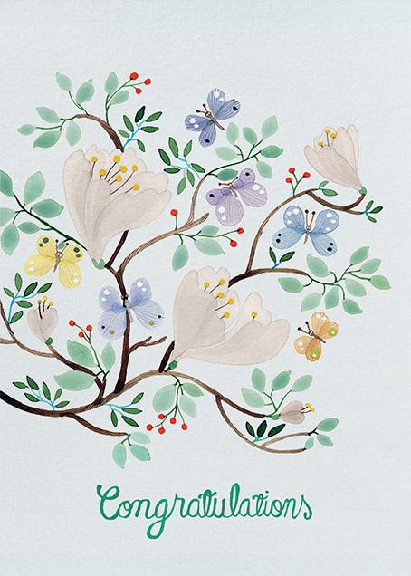 Butterfly Branches (Anna Emilia Laitinen) - Red Cap Cards - Congratulations