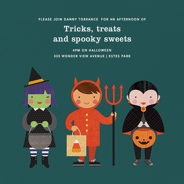 Tricky Trio - Petit Collage - Kids' Halloween invitations