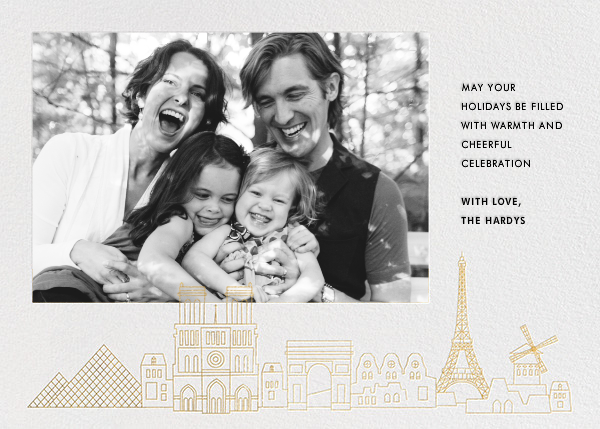 Paris Skyline View (Photo) - White/Gold - Paperless Post - Holiday cards