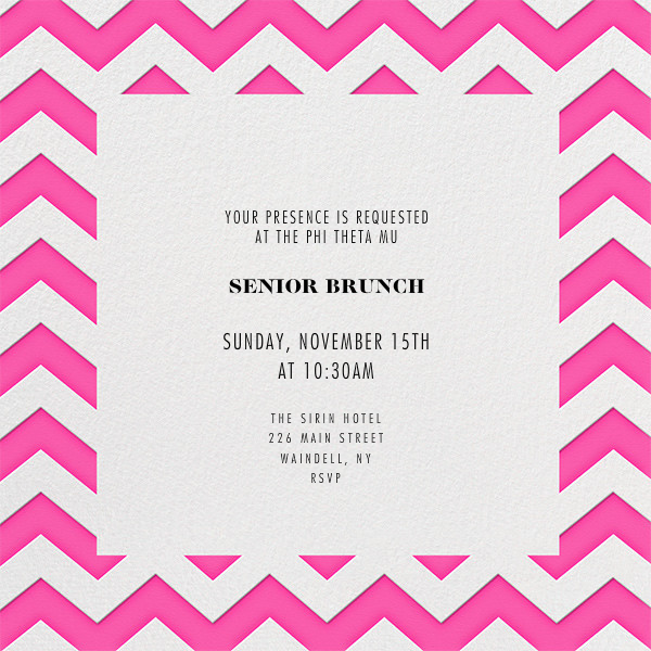 Chevrons (Square) - Bright Pink - Paperless Post - Sorority events