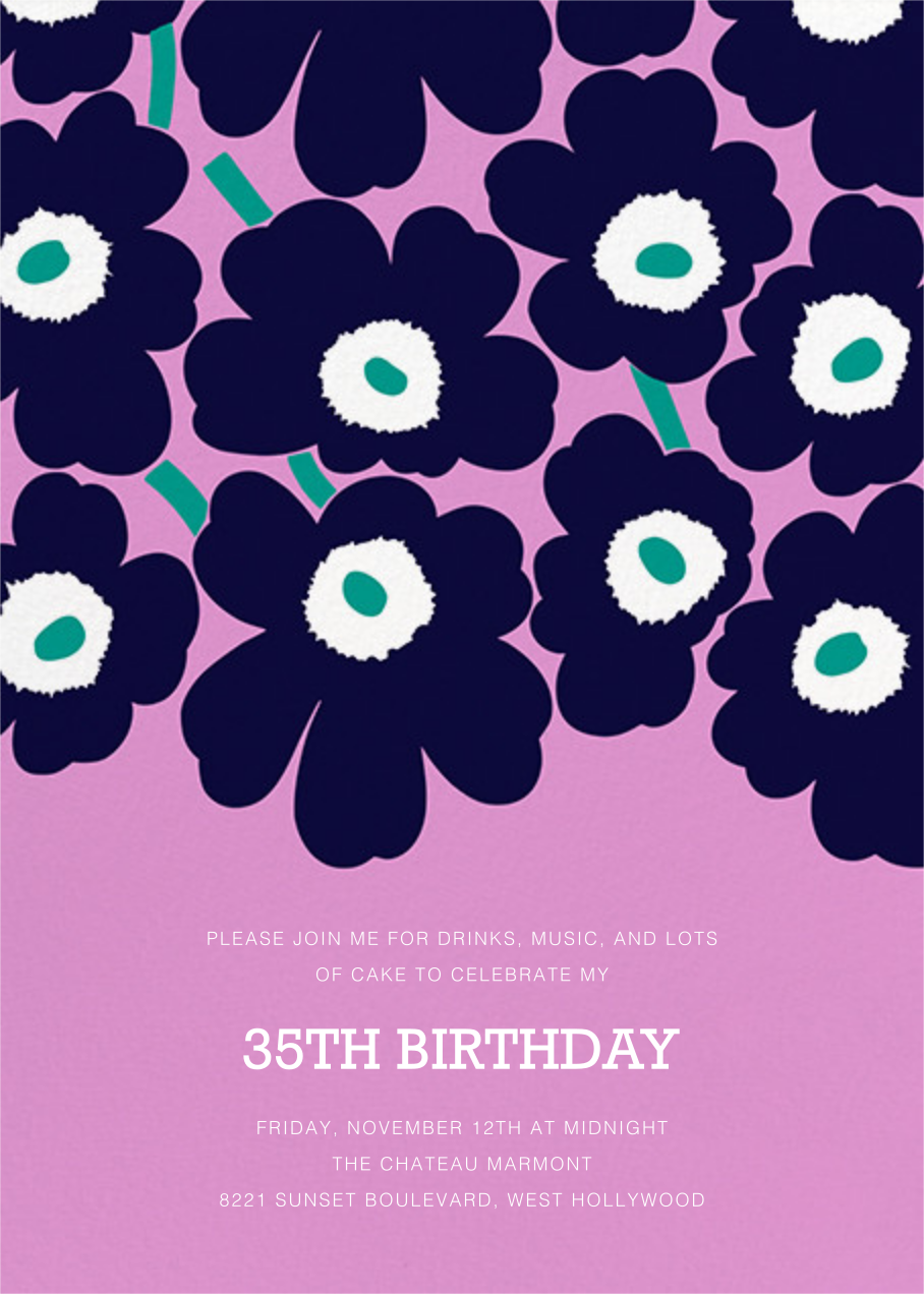 Unikko (Tall) - Navy/Lilac - Marimekko - Adult birthday