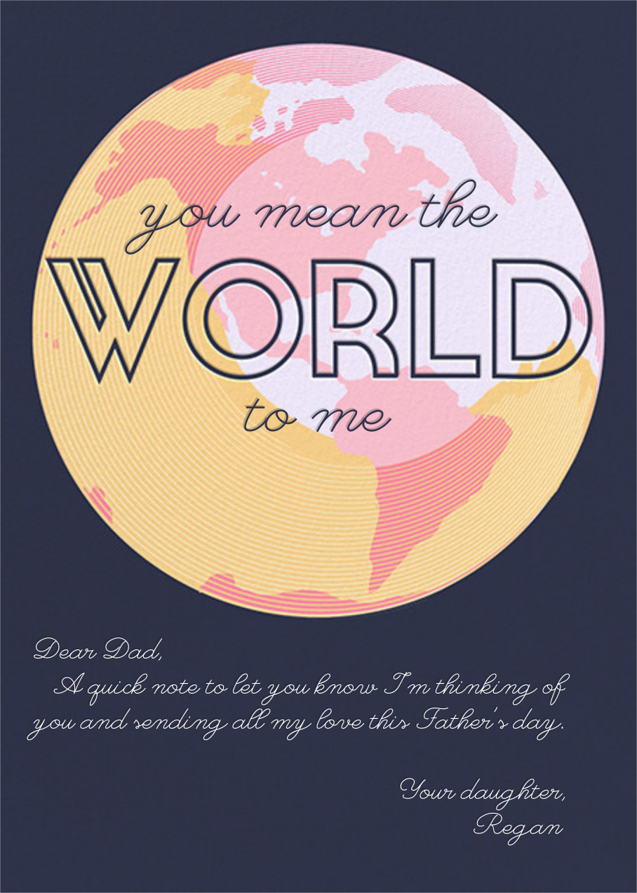You Mean the World to Me - Navy - Paperless Post - Father's Day