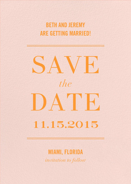 Typographic II (Save the Date) - Meringue - kate spade new york - Save the date