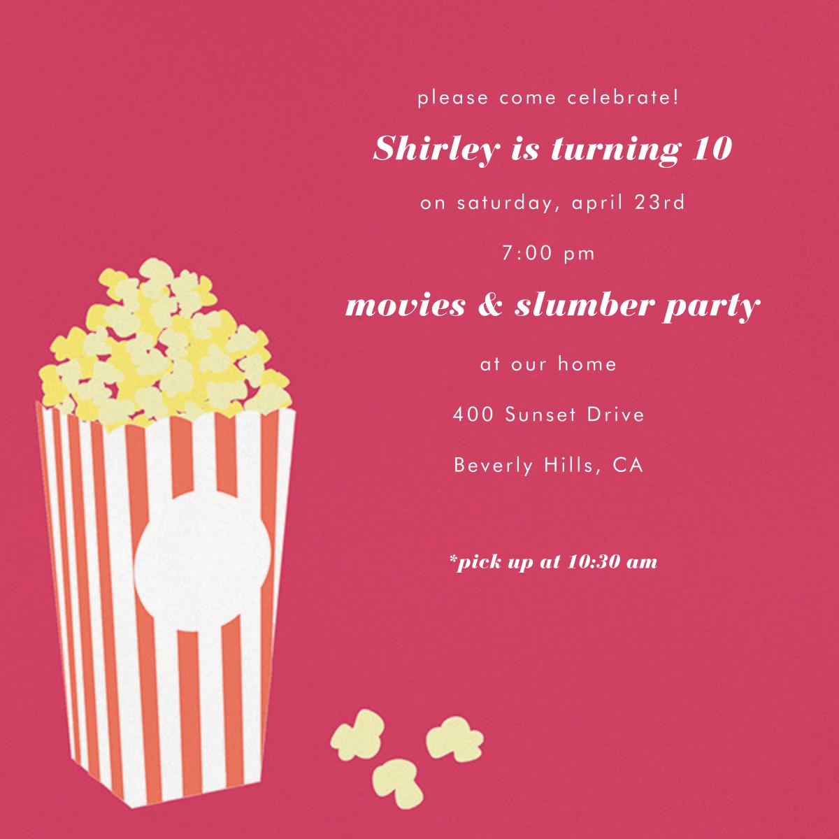 Bucket of Popcorn - Pink - Paperless Post - Kids' Birthday Invitations