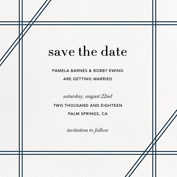 Caning (Save the Date) - Navy - Jonathan Adler - Save the date