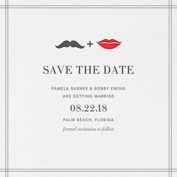 Mr. Stache and Ms. Lips (Save the Date) - Gray - Jonathan Adler - Save the date