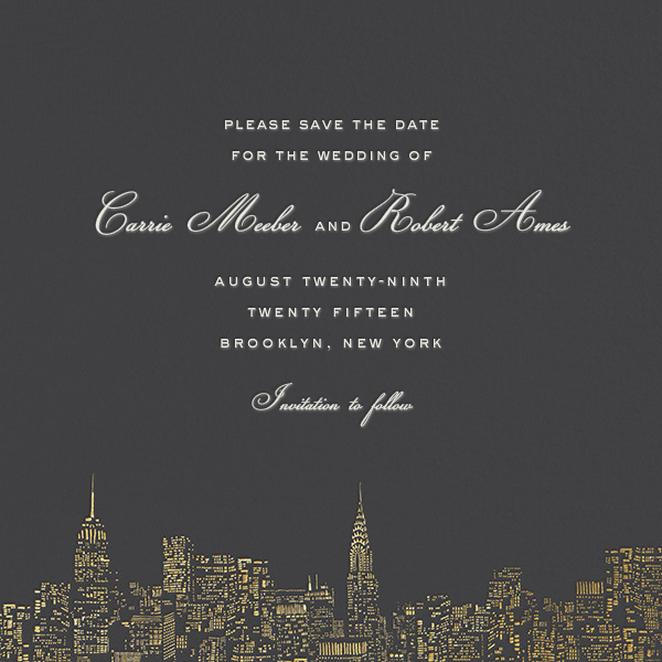 City Lights II (Save the Date) - Slate/Gold  - kate spade new york - Save the date