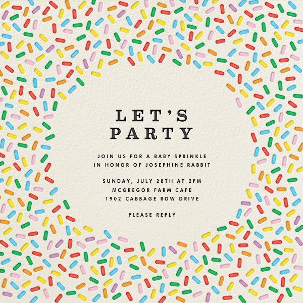 Sprinkles - Let's Party - The Indigo Bunting - Baby shower
