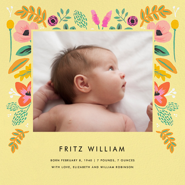 Folk Foliage - Yellow - Rifle Paper Co. - Baby boy announcements