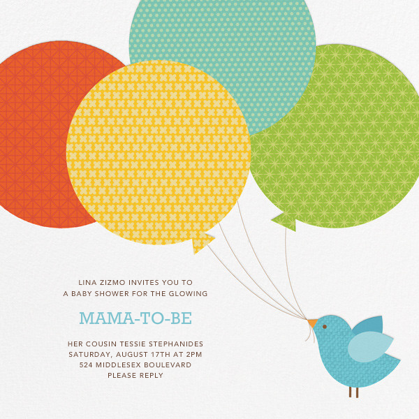 Bird Balloon (Invitation) - Blue - Petit Collage - Baby shower