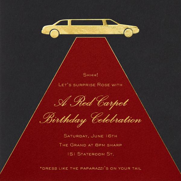 Red Carpet - Paperless Post - Adult birthday