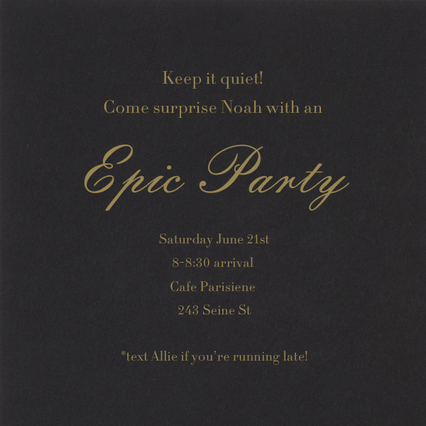 Keep It Quiet - Black with Gold - Paperless Post - Surprise party - card back