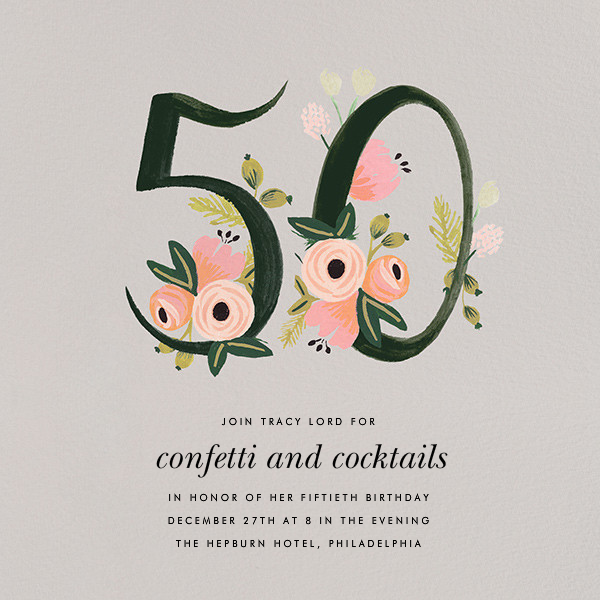 Botanic Numerals (Fifty) - Gray - Rifle Paper Co. - 50th birthday invitations