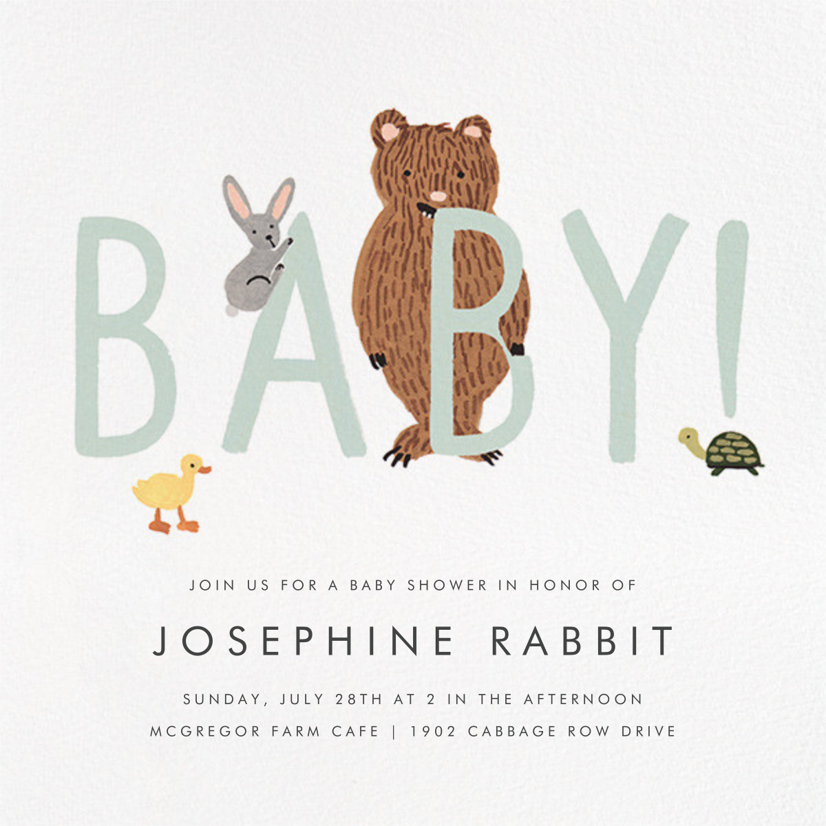 Bunny, Bear, and Baby - Mint - Rifle Paper Co. - Designs we love